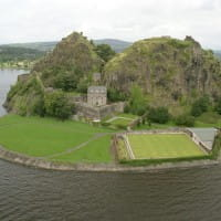 Aerial view of Dumbarton Castle and the River Clyde